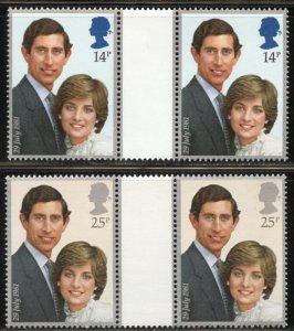 Great Britain Scott 950-51 MVF-XFNHOG Gutter Pairs- Royal Wedding - SCV $5.00