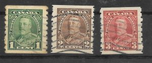 Canada Scott #228-30 Used King George V Perf 8 vertical coil 2018 CV $4.85
