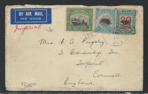 NORTH BORNEO (PP0204B) 1935 3C TRAIN+10C BOAR+20C/18C COW TO ENGLAND