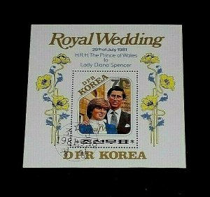KOREA, 1981, PRINCESS DIANA, ROYAL WEDDING, CTO, SOUVENIR SHEET, NICE! LQQK!