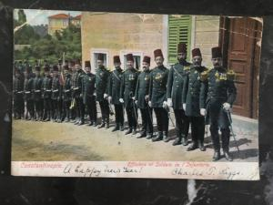 1907 British Post office Constantinople Turkey Postcard Cover to USA Infantry