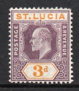 St Lucia 1904 EDVII 3d dull purple & yellow wmk MCCA SG 70 mint