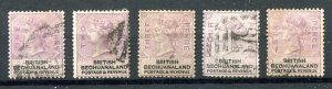 British Bechuanaland 1888 QV. 1d - 6d stamps. Used. SG10/14.