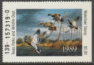 U.S.-TEXAS 9, STATE DUCK HUNTING PERMIT STAMP. MINT, NH. VF