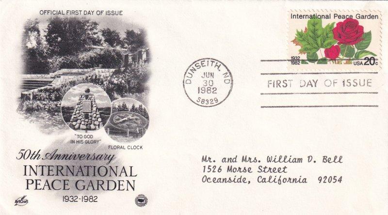1982, Int'l Peace Garden, Art Craft/PCS, FDC (E11493)