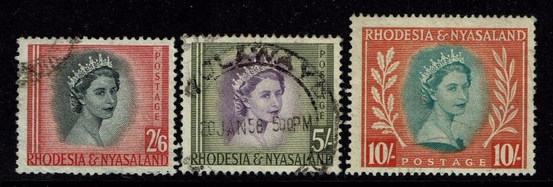 Rhodesia & Nyasaland SG# 12 - 14 Used (#14 Pulled RIght Perf / sm Crease) - S206