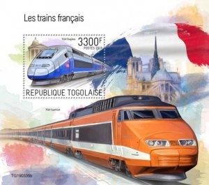 TOGO- 2019 - French Trains - Perf Souv Sheet - MNH