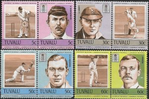 Tuvalu 1984 Chricket Players in Action SC # 259-266 MNH