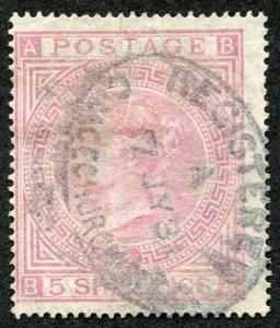 SG127 5/- Pale Rose pate 2 (crease) cat 1500 pounds