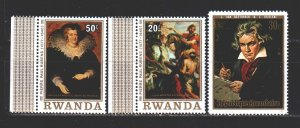 Rwanda. 1971. 449-51 from the series. Beethoven, painting. MNH.