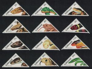 Suriname Snakes 12v Triangles SG#1492-1503