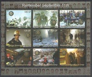 E0803 2003 CONGO TRAGEDY 11 SEPTEMBER ROTARY CLUB 1KB MNH