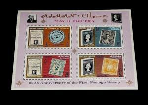 AJMAN #44a, 1965, CENTENARY EXHIBITION, SOUVENIR SHEET, MNH, NICE! LQQK!