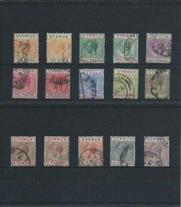 CYPRUS 1912-15 SET PLUS SHADES G/FU (15) SG 74/84 CAT £300+