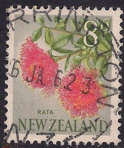 New Zealand 1967 8d Flowers used stamp ( E1314 )