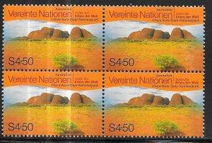 UN-Vienna  #250  4.50s World Heritage (MNH) blk of 4CV $3.00