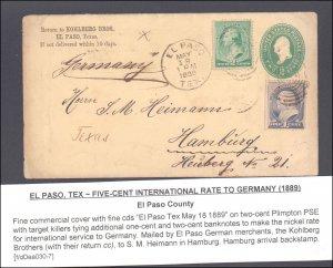 El Paso County El Paso to Germany( Postal History ), 1889
