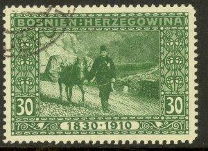 BOSNIA AND HERZEGOVINA 1910 30h Donkey Post Franz Joseph Birthday Jubilee Sc 54