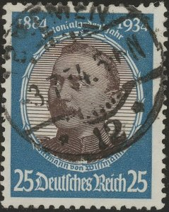 Stamp Germany Mi 543 Sc 435 1934 WW2 Fascism Wi man Colonial Pioneer Used
