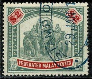 FEDERATED KG V 1922-34 2$ GREEN & CARMINE VFU SG78 Wmk.MSCA VGC