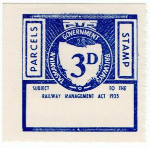 (I.B) Australia - Tasmania Railways : Parcels Stamp 3d