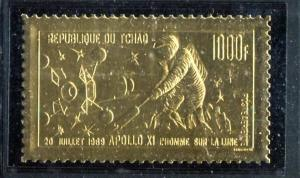Chad C60 MNH Space Apollo 11 Astrounaft on the Moon, Gold Foil 1969.  x17530