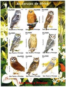 Sao Tome & Principe 2004 BIRDS OWLS Sheet (9) Imperforated Mint (NH)