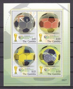 Gambia, Scott cat. 3042 a-d. World Cup Soccer sheet. ^