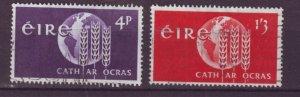 J20738 Jlstamps 1963 ireland set used #186-7 wheat emblem