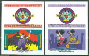 UGANDA DISNEY SCOTT#988/89 WORLD TOUR SET OF SOUVENIR SHEETS MINT NH