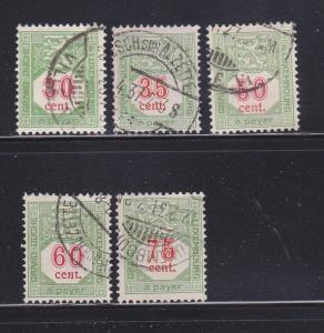 Luxembourg J14-J17, J19 U Postage Due Stamps