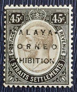 MALAYA BORNEO EXHIBITION MBE opt STRAITS SETTLEMENTS KGV 45c MCCA MNH SG#246