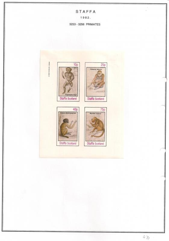 SCOTLAND - STAFFA - 1982 - Primates - Imperf 4v Sheet - MLH
