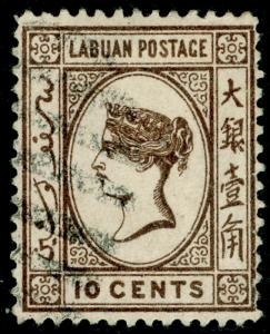 LABUAN SG54, 10c brown, FINE USED.