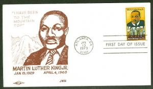 MARTIN LUTHER KING JR FDC NOVA CACHET 'TOP OF THE MOUNTAIN'