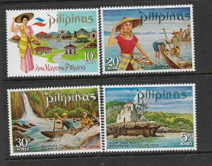 PHILIPPINES, 1086-1089, MNH, TOURIST TYPE OF 1970