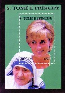 Sao Tome & Principe 1997 PRINCESS DIANA & MOTHER TERESA Gold s/s Mint (NH)