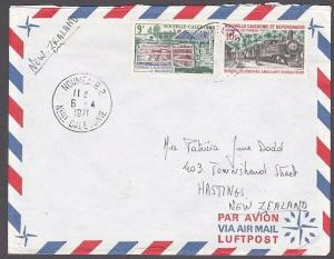 NEW CALEDONIA 1971 cover NOUMEA to New Zealand - Cattle & railway..........53869