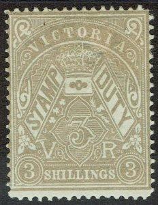 VICTORIA 1884 STAMP DUTY 3/- WMK V/CROWN SG W33
