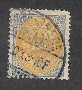 Denmark Scott 34 Used 100o Normal Frame stamp 2013 CV $60.00