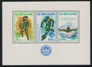 Suriname Football Swimming Olympic Games Barcelona MS SG#MS1524