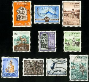 Ceylon Stamps # 319-28 Used XF Scott Value $27.60