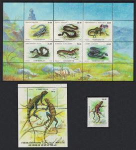 Uzbekistan Reptiles Snakes Lizards Crocodile+Sheetlet+MS SG#202-MS209
