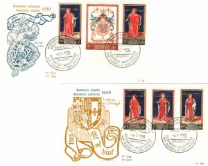 Belgium 1959 40c+10c, 1F+50c, 1.50F+50, 2.50F+1F, 3F+1.50F, and 5F+3F Royal L...
