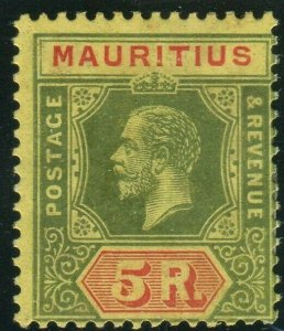 MAURITIUS-1921 5r Green & Red/Pale Yellow.  Average mounted mint example Sg 203a