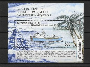 TAHITI / 2019 - (Miniature Sheet) JOIN ISSUE WITH SPM HAWAIKI (Naval, Ship), MNH