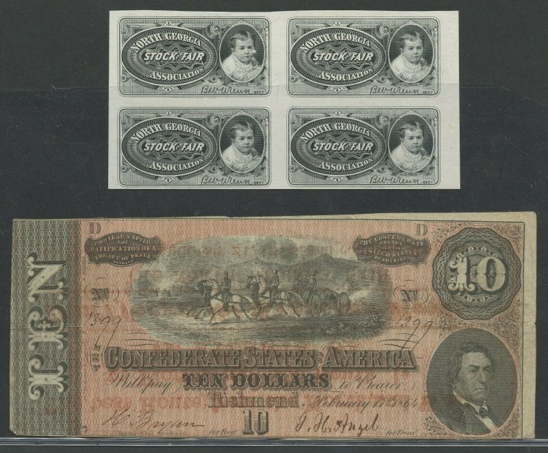 1878 NO. GEORGIA FAIR ADD ON BACK $10 1864 CSA NOTE & BLK/4 PROOF TICKETS BV649