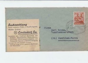 germany  1948 bahnpost railway stamps  cover ref r14226