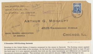 SARAWAK 1939, CENSOR COVER KUCHING TO USA, 12c RATE (SEE BELOW)