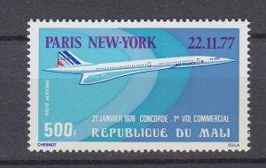 J29766, 1977 mali 1st flight concord set of 1 mnh #c315 airplane